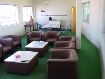 1階休憩室 冷暖房完備で皆様の憩いの場です。